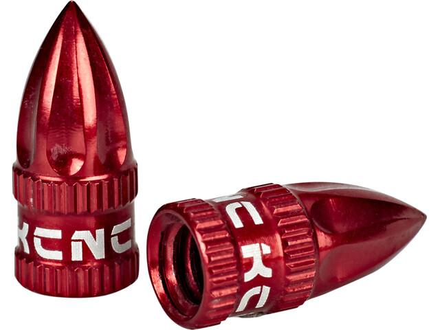KCNC Valve Caps Presta to Schrader, red